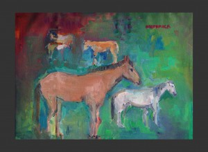 202]    HORSES BY A RIVER